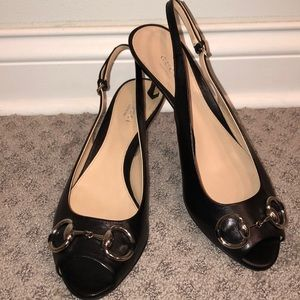 Gucci open toe black leather heel NWT!
